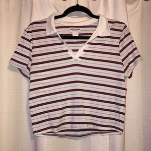 Soft Striped Collared Crop Top